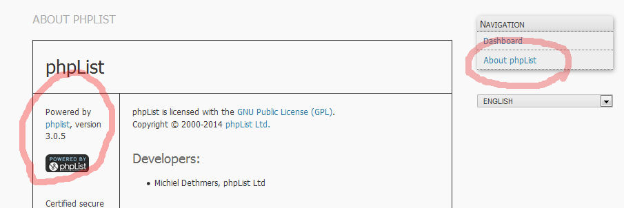 Admin Info for phpList version