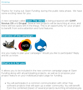 Open Crowdfunding newsletter using Open Source Software phpList