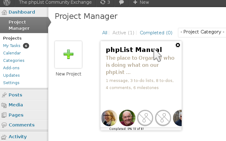 Choose the phpList manual project from the project manager home