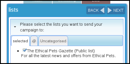 choose which list to send your campaign to in phpList