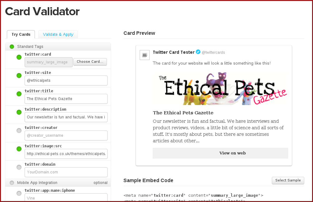 Fill out the twitter card validator to create your card