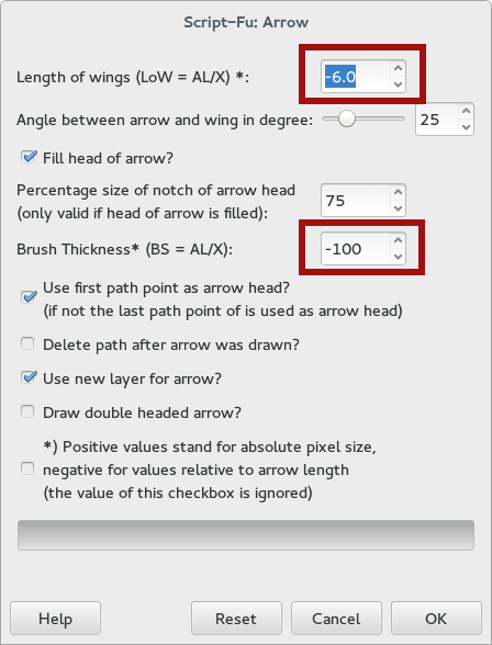 settings for arrows script in gimp