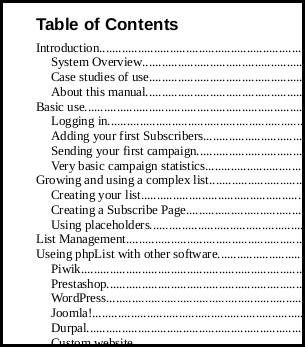 the table of contents for phpList's new manual is shaping up
