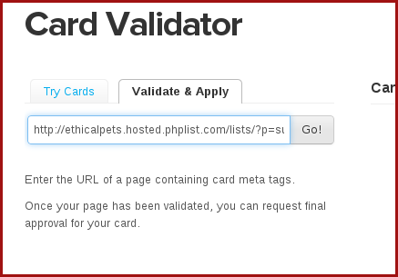 reqtest twitter card validation