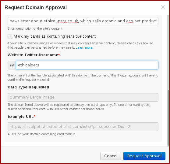 fill out the twitter card validation request