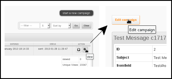 edit sent campaigns phpList 3.0.7
