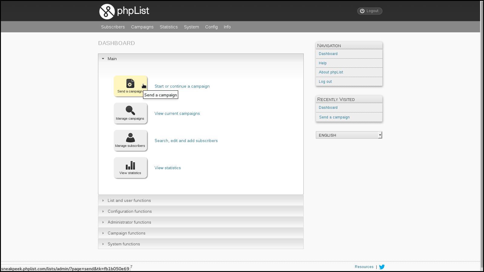 phpList_dashboard