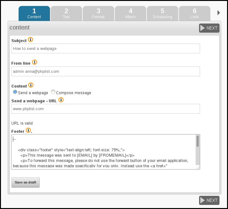 phpList 3.0.7 send a web-page