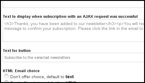 phplist ajax subscribe page text edit