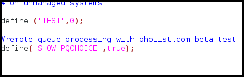 phpList remote processing of queue set up in config.php