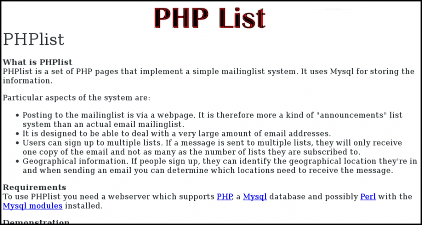 first_phpList_website