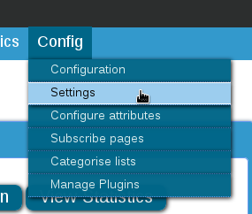 Click on Config > Settings
