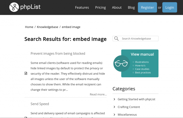 Screenshot of phpList Knowledgebase article search with article metadata hidden