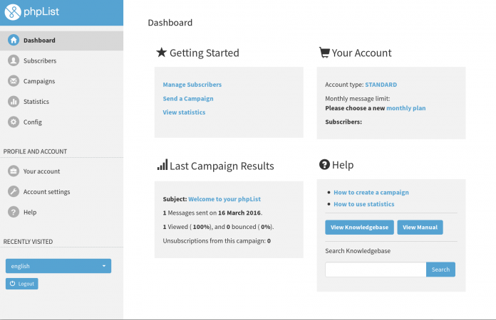 Screenshot of phpList Hosted account dashboard with Knowledgebase search integrated