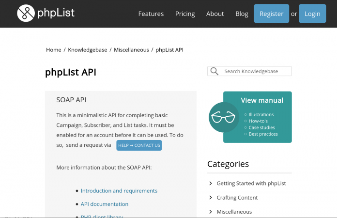 Screenshot of the phpList Knowledgebase with a custom style applied to action paths in the article