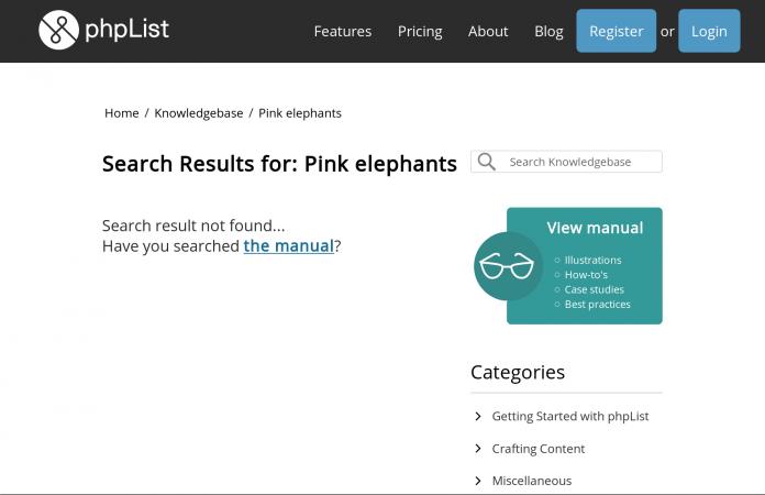 Screenshot of phpList Knowlegebase linking to the phpList Manual