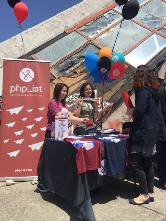 The phpList booth on Saturday at OSCAl, Tirana