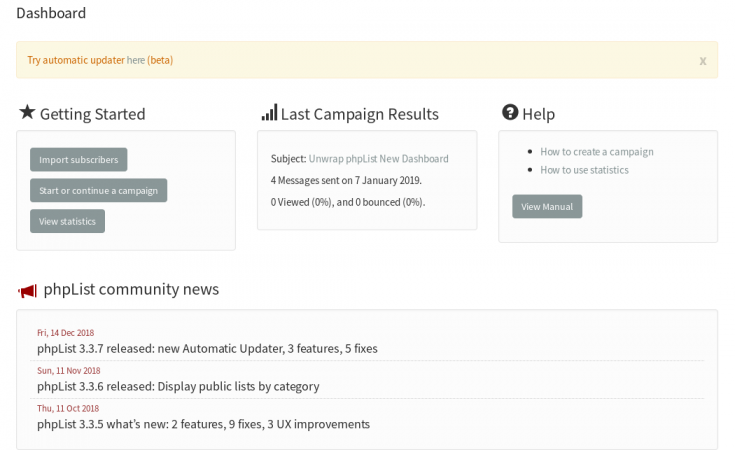 phpList 3 3 8 released: New Dashboard | phpList org