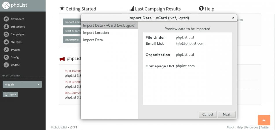 Screenshot of adding the email campaign sender to a subscriber's address book